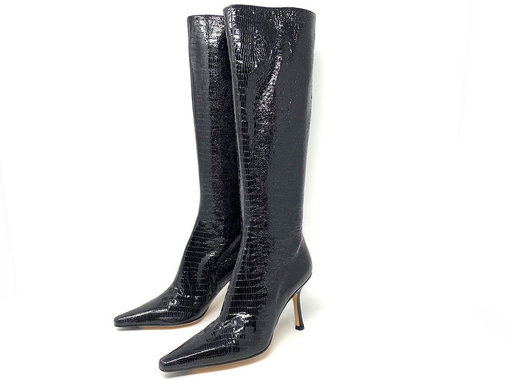 Jimmy Choo 'Peony' Black Exotic-Leather Knee Boot