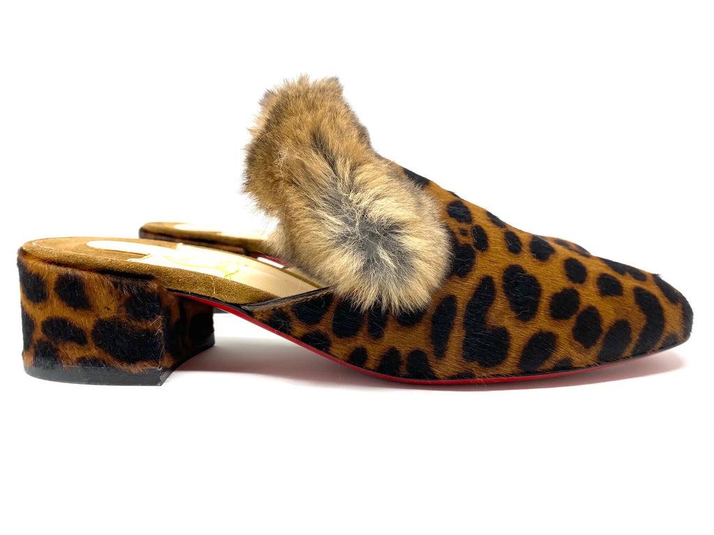 Christian Louboutin Boudiva Leopard Pony Hair/Rabbit Fur Mules