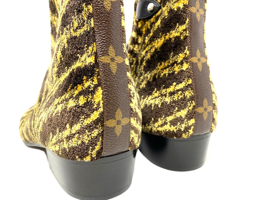 Louis Vuitton Velvet Patterned Ankle Bootie