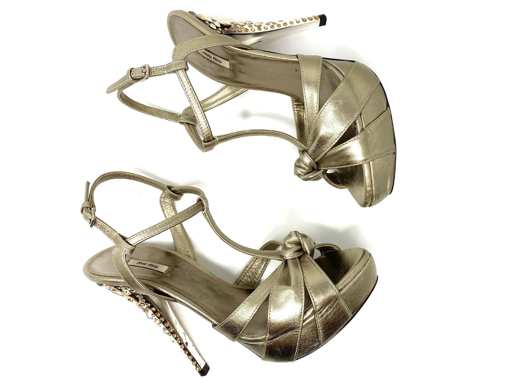 MIU MIU Metallic T-Strap Stiletto with Crystal Encrusted Heel