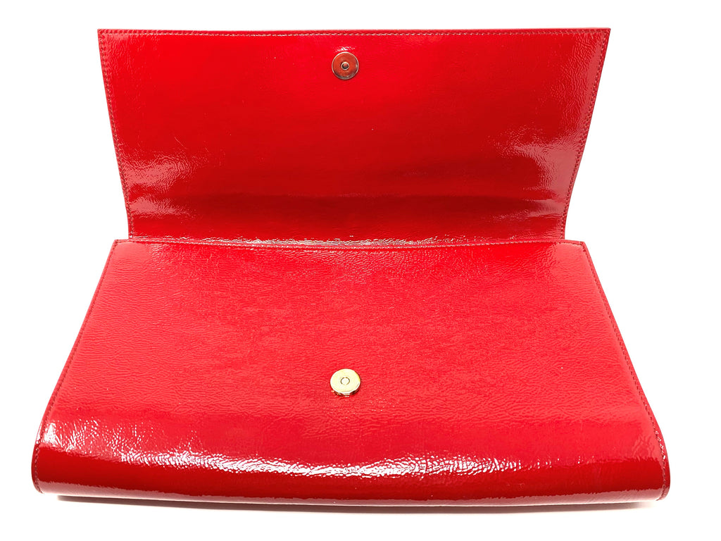 YSL Belle de Jour Textured Red Patent Clutch