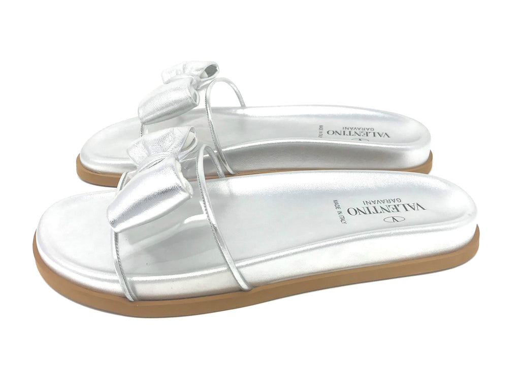 Valentino Garavani Leather Bow and PVC Silver Slides