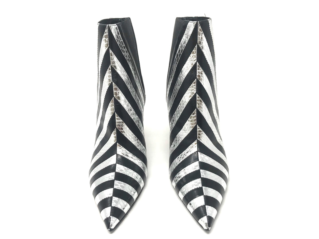 Saint Laurent Kiki Silver and Black Striped Leather Bootie