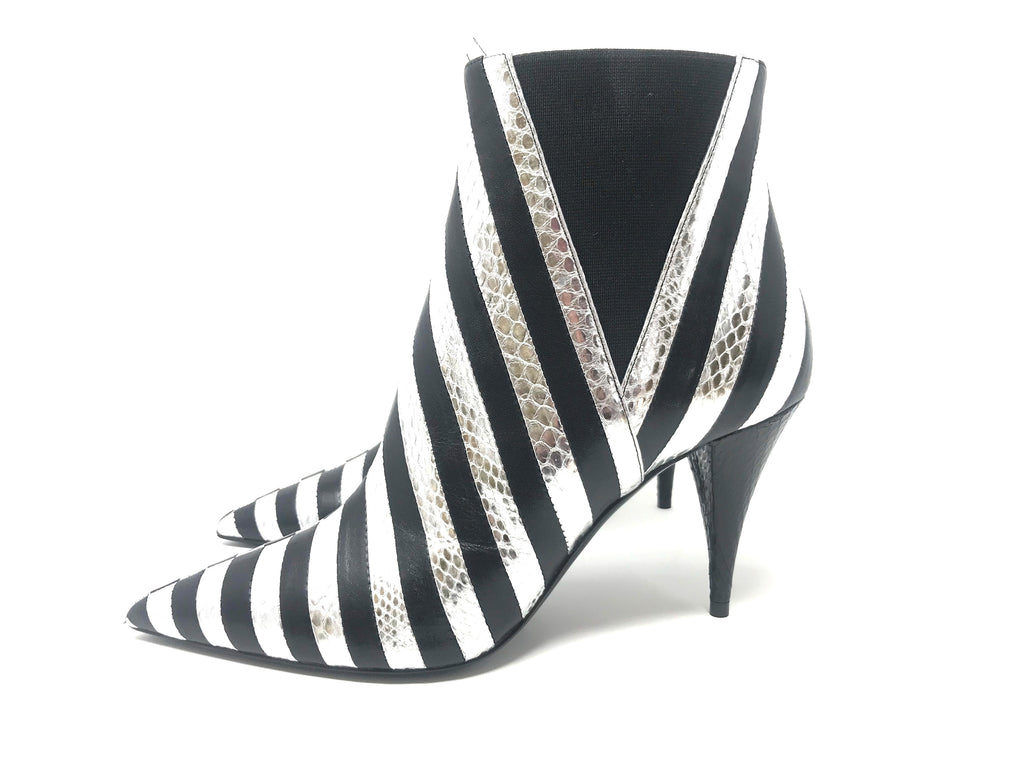 Saint Laurent Kiki Silver and Black Striped Leather Booties
