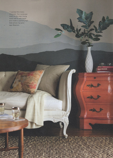 Anthology magazine featured Shannon Kaye's home in the In Living Color issue where she painted 'torn landscapes on the walls, filled the rooms with eclectic vintage furnishings and her Plein Heir pillow designs and revamped furnishings.
