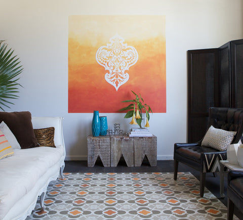 Shannon Kaye painted this large Moroccan style medallion with ombre background to add dramatic style to a room with tall ceilings.