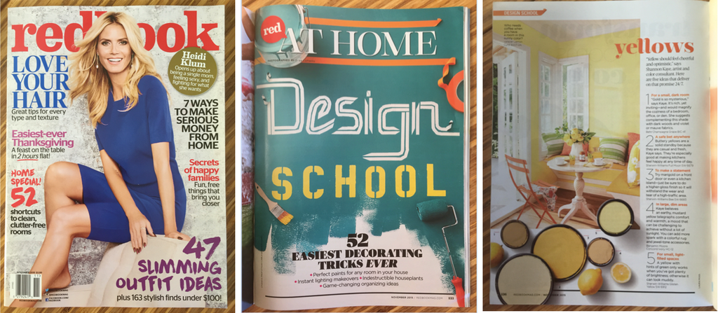 Shannon Kaye, nationally recognized color consultant and artist, share her advice about yellow paint in Redbook's November 2015 Design School issue