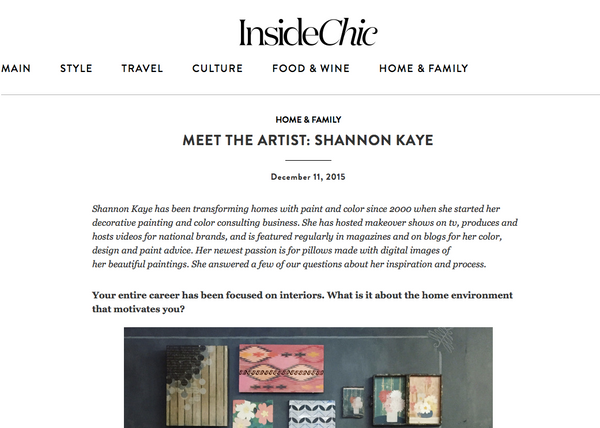 Shannon Kaye talks with Chico's new blog, Inside Chic, about her Plein Heir pillow designs and plans for the future.