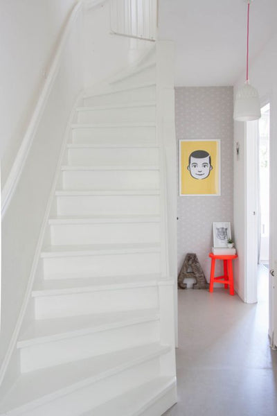 white stairs, white hall, white hallway, smiley face, white staircase, white interior, modern clean, dutch home, dutch style, dutch interior