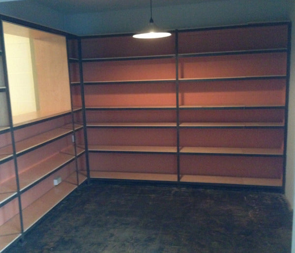 built in storage, built-in storage, built in shelves, built-in shelves, steel shelves, custom shelves, orange dining room, industrial dining room, modern dining room, dining room update, dining room remodel