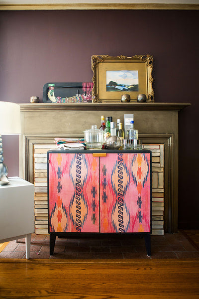 Geometric Fire on Vintage Cabinet