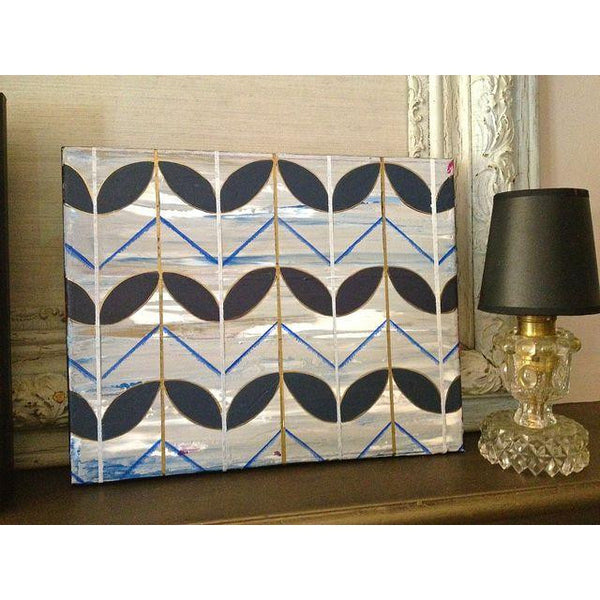 Small Art- Blue Deco Leaves painting