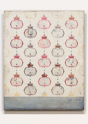 Crowns is a mixed media painting with custom stencil design and written text by Shannon Kaye