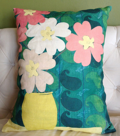 Pillow- Green Paisley Floral Small