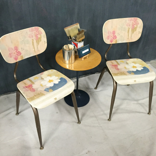 Pair Vintage Bentwood School chairs with Linen design applique