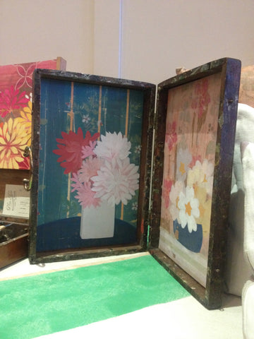 a Vintage Painters Box with canvas prints