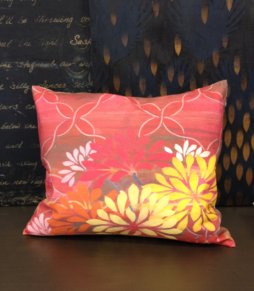 Pillow- Pink Lattice Floral Linen Small