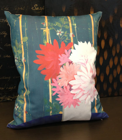 Floral and stripe linen throw pillow with dahlias