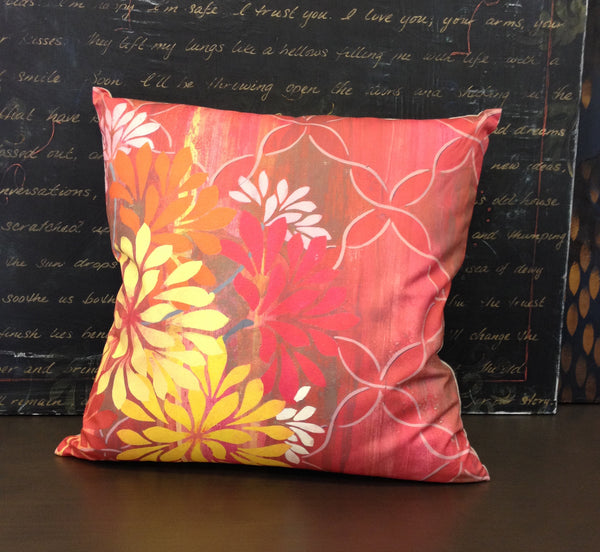 Pillow- Pink Lattice Floral Square Large
