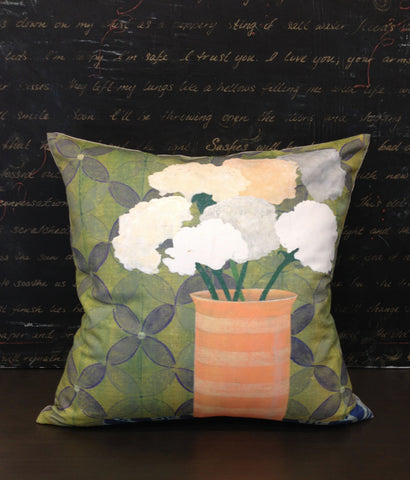 Pillow- Green Lattice Floral Square Large