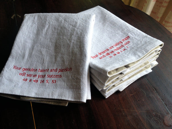 Set of Four Good Fortune Embroidered Linen Napkins
