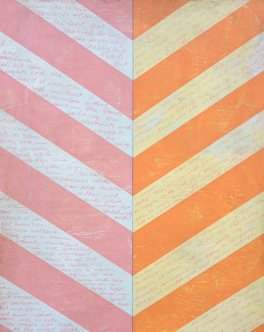 chevron pattern orange pink and yellow with text painting