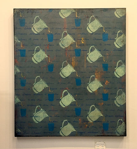 'Pitchers' original art on salvaged wood canvas