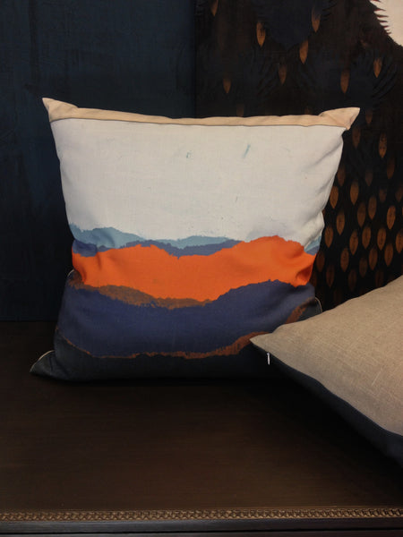 Pillow- Torn Landscape Blue Orange Large