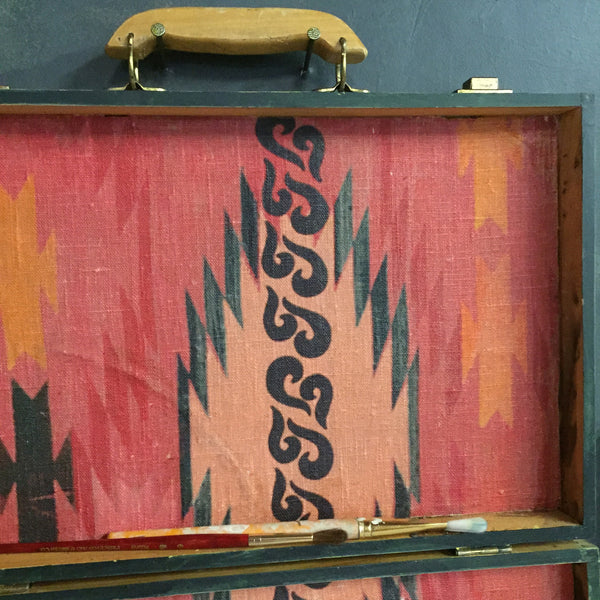 a Geo Fire Print on Vintage Painters Box
