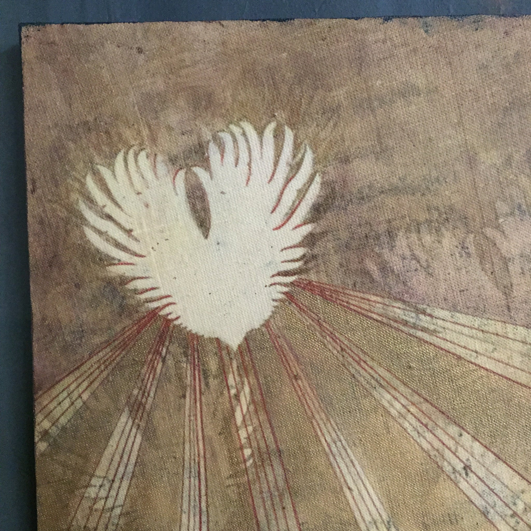 Small Art- Winged Heart Linen Print on Salvaged Wood Panel