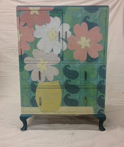 Green Paisley Floral on Vintage Cabinet