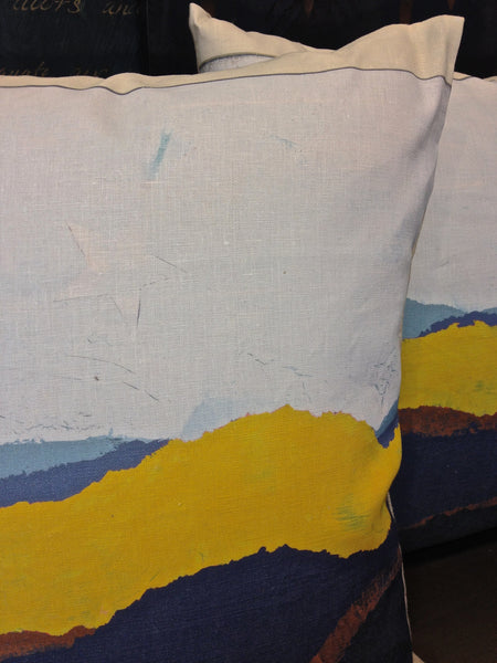 Pillow- Torn Landscape Blue Yellow Large
