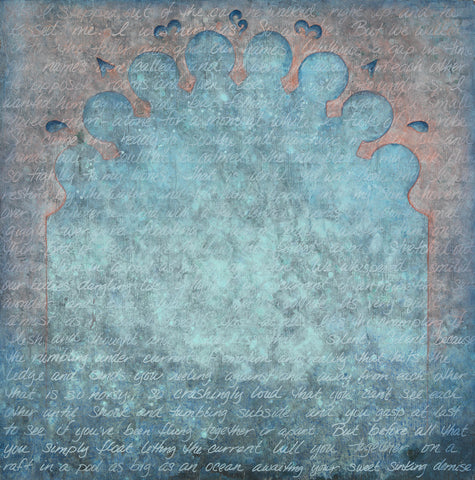 blue written text art Calistoga Arch by Shannon Kaye
