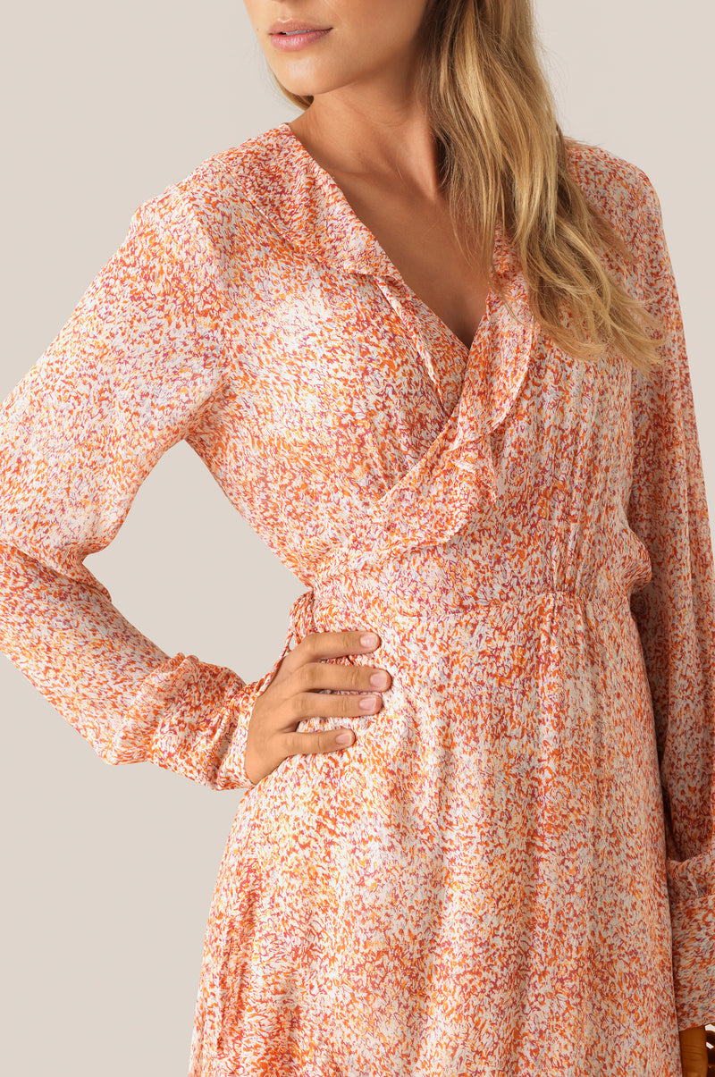 Floral LS Wrap Dress
