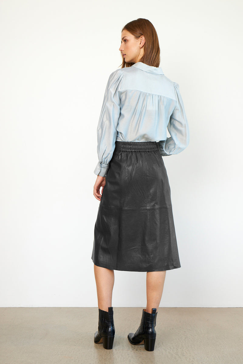 Melvin Leather Midi Skirt