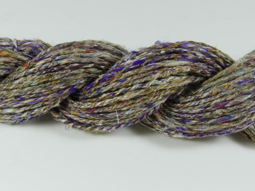 Handspun Sari Silk Yarn: Purple Tweed