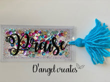 Load image into Gallery viewer, Praise Turquoise Shaker Bookmark with yarn tassel - Single Tone Print