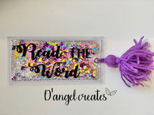 Load image into Gallery viewer, Read the Word Lavender Shaker Bookmark with yarn tassel - Single Tone Print