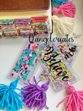 Load image into Gallery viewer, Bendecida Shaker Bookmark with yarn tassel - Single Tone Print