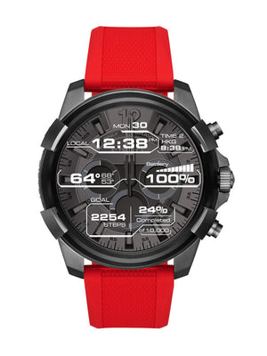 Red touchscreen smartwatch, 48 mm