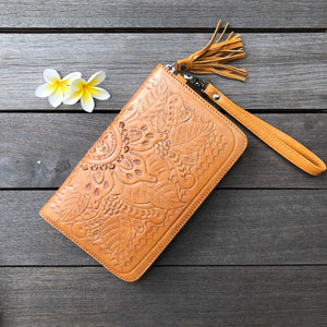 Hand  Tooled Leather Sunflower Zip Round Wallet