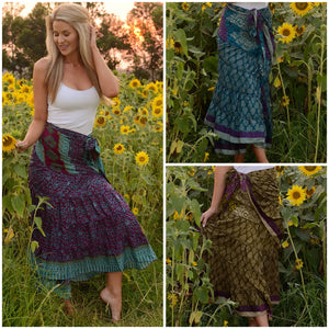 Wrap style skirt with tiered ruffle hem.