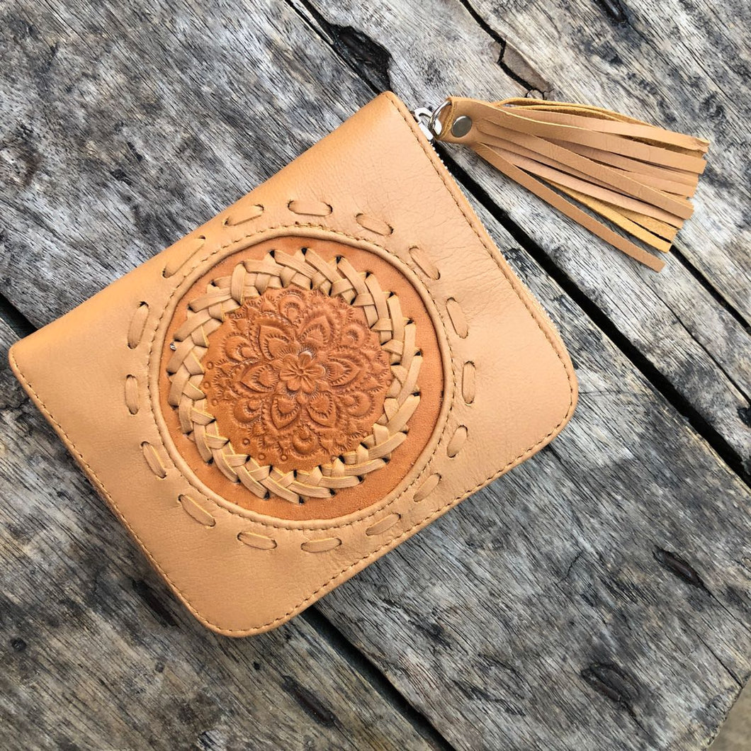 Hand  tooled Leather Aloha Wallet