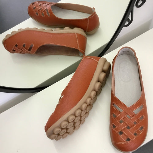 Orange Lattice Style Leather Nodule Shoes