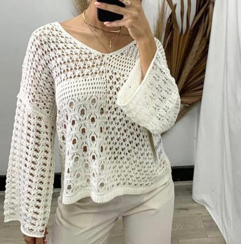Cream patchwork light weight knit