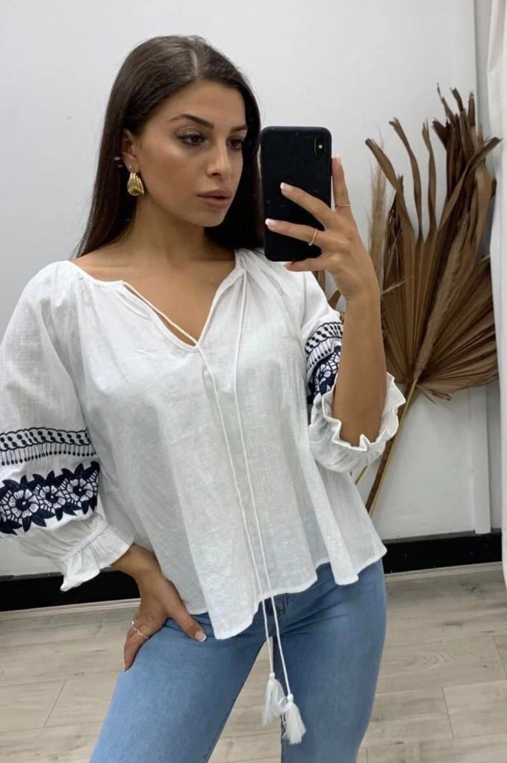 White Emdroidered Top