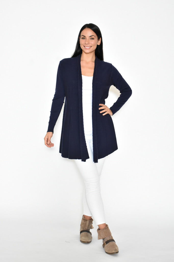 Wave Front Cardigan - Navy