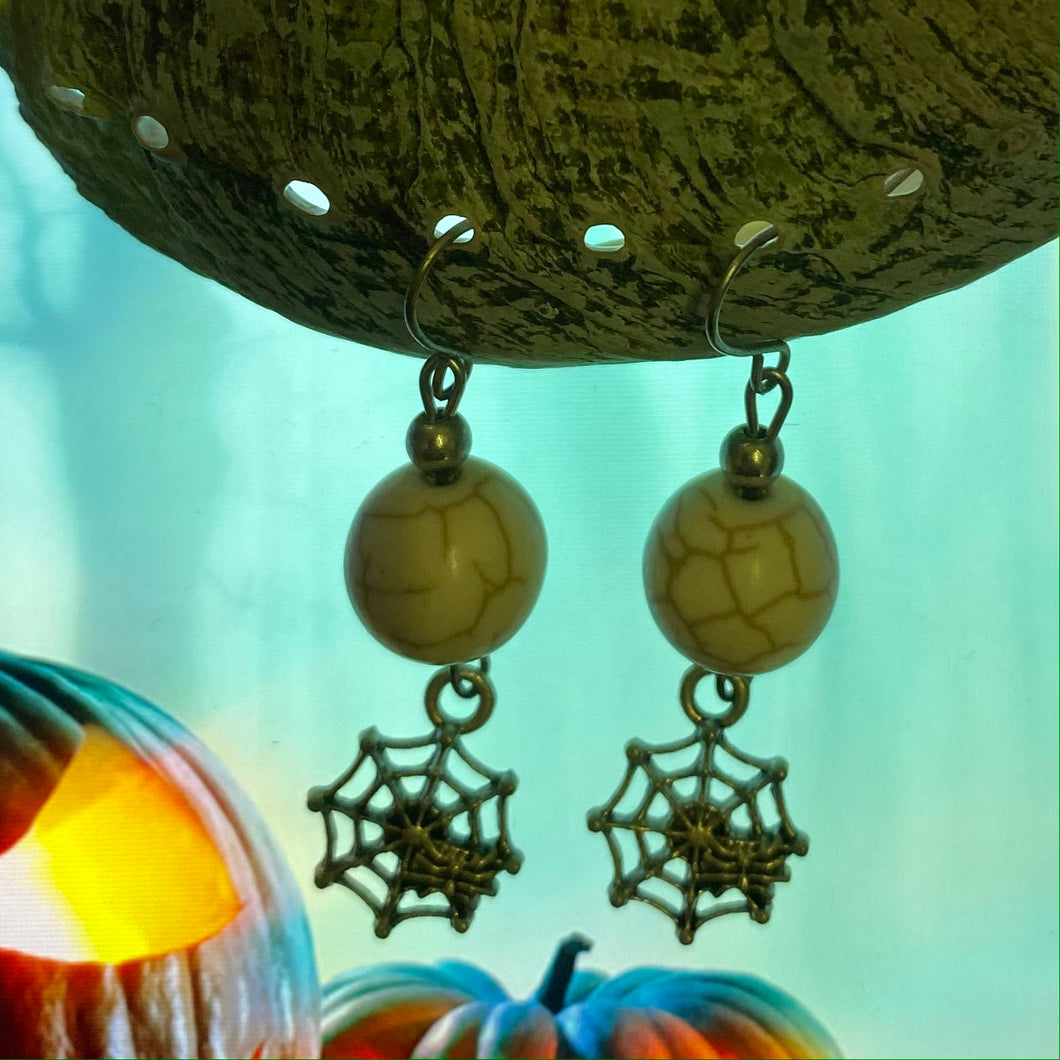 Halloween Spiderweb Drop Earrings