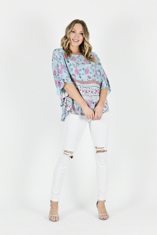 Blue Draped Batwing Top