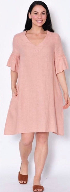 Flared Short Sleeve Linen Dress